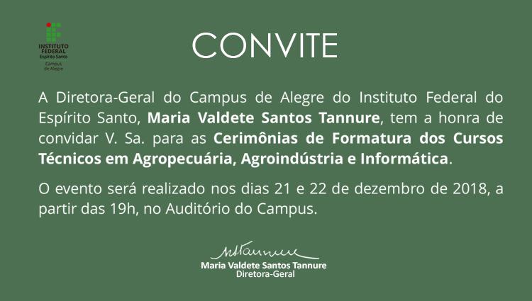Convite: Cerimônias de Formatura dos Cursos Técnicos