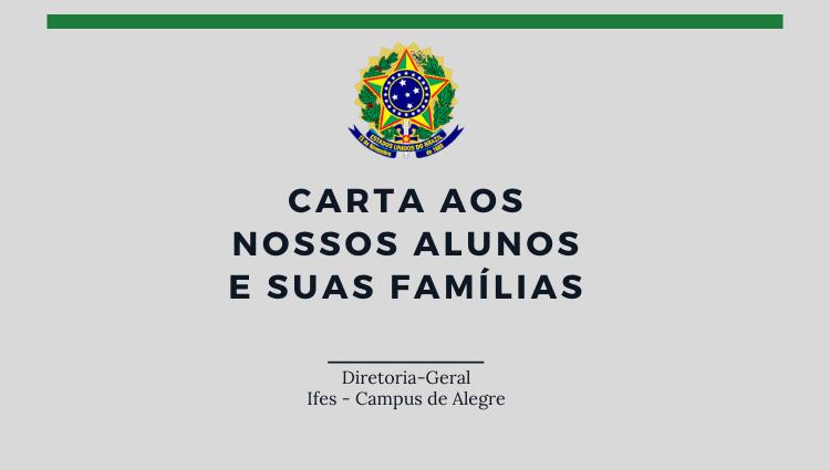 Carta aos nossos alunos e suas famílias