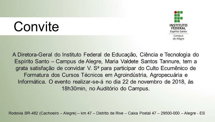 Convite Culto Ecumênico de Formatura dos Cursos Técnicos.